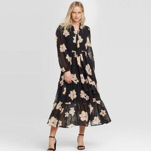 Floral Print Long Sleeve Round Neck midi dress